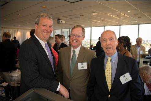 From left, Craig Roswell, of Niles, Barton & Wilmer LLP, Matt Kimball, of Niles, Barton & Wilmer LLP, and John Martin Jones, retired from Kirkland Ellis LLP, celebrated Kornblatt Company's recent anniversary.