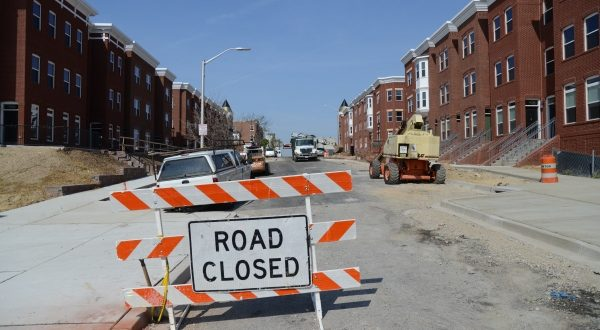 Photos of the construction of the North Barclay Green apartment community that is being built at near the intersection of North Avenue and Greenmont Avenue in the Station North Arts District. (The Daily Record/Maximilian Franz)
