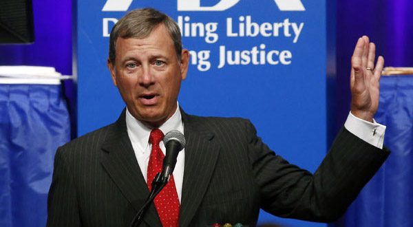 Supreme Court Chief Justice John Roberts speaks at the American Bar Association's annual meeting in Boston on Monday. (AP Photo/Elise Amendola)