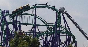 Six Flags Roller Coaster Stuck