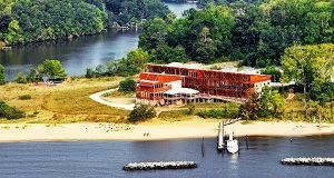 Aerial view of the Philip Merrill Environmental Center at Chesapeake Bay Foundation.. Photo by CBF Staff