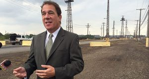 Baltimore County Executive Kevin Kamenetz at Sparrows Point in 2014. (The Daily Record/Maximilian Franz)