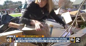 In this TV report, Joce Sterman rummages through a dumpster on Jarrettsville Pike and says that Social Security numbers and 'complete medical records' were found inside.