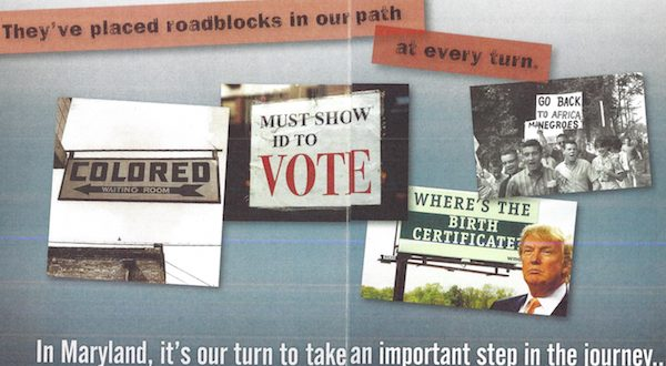 Image from a flier mailed by the Maryland Democratic Party to voters in Prince George's County.