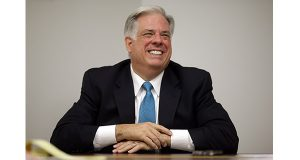 Maryland Republican gubernatorial candidate Larry Hogan laughs during an interview with The Associated Press in Baltimore, Monday, Oct. 20, 2014. (AP Photo/Patrick Semansky)