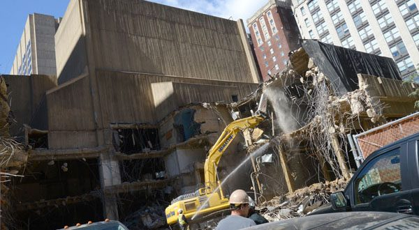 The site of the Morris A. Mechanic Theatre, now under demolition, will be home to a mixed-use development. (The Daily Record/Maximilian Franz)