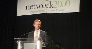 Mark Stoeckle, the CEO of both The Adams Express Co. and Petroleum & Resource Corp., accepts an award from Network 2000 Thursday. (The Daily Record/Alissa Gulin)