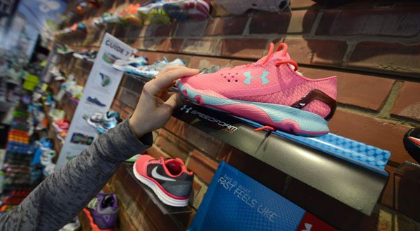 Strong sales of footwear, like the Under Armour Speedform Apollo running shoes, have driven the company's revenue growth. (The Daily Record/Maximilian Franz)