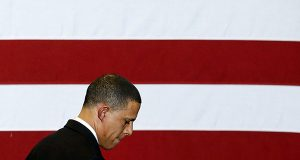 Maryland Democratic gubernatorial candidate, Lt. Gov. Anthony Brown, walks offstage after conceding to Gov.-elect Larry Hogan during an election night gathering, Wednesday, Nov. 5, 2014, in College Park, Md. (AP Photo/Patrick Semansky)
