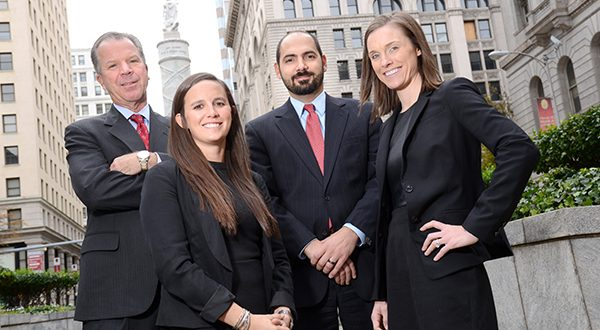 Sisters Tajah and Tynae Jeffers were represented by attorneys from The Law Offices of Evan K. Thalenberg — from left, Thalenberg, Jessica L. Phillips, Nicholas A. Szokoly and Cara L. O'Brien. (The Daily Record/Maximilian Franz).