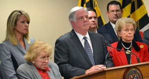 From left, former U.S. Congresswoman Helen Bentley, Gov.-elect Larry Hogan and Ambassador Ellen Sauerbrey appear at a news conference regarding Hogan's transition team. (The Daily Record/Bryan P. Sears)