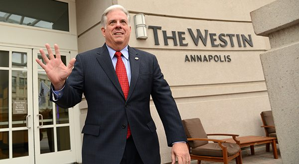 Gov.-elect Larry Hogan leaves The Westin Annapolis after a news conference. Hogan announced his transition team and pledged to work with the legislature's Democratic leadership. (The Daily Record/Maximilian Franz)
