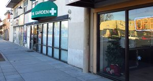 """In this photograph taken on Thursday, Nov. 6, 2014, the awning of a recreational marijuana store marks a pot shop located next to an appliance repair business along South Broadway in Denver, which boasts the world's highest concentration of marijuana retailers. A proposal to rename the stretch of Broadway to """"The Green Mile"""" has stirred the ire of local business owners along the roadway. (AP Photo/Kristen Wyatt)"""