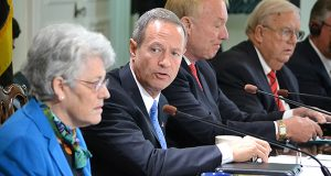 Gov. Martin O'Malley, at Wednesday's Board of Public Works meeting, says the state often enters deals with private companies similar to the distribution center deal that evoked concern from some board members. (The Daily Record/Bryan P. Sears)