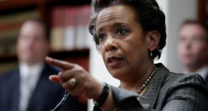 If confirmed, Loretta Lynch, shown in New York in April, would be the first black woman to be U.S. Attorney General. (AP Photo/Seth Wenig, File)