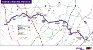 A map of the proposed Purple Line that would run from Bethesda to New Carrollton.
