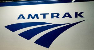 An Amtrak logo is seen on a train at 30th Street Station in Philadelphia. (AP Photo/Matt Rourke, File)