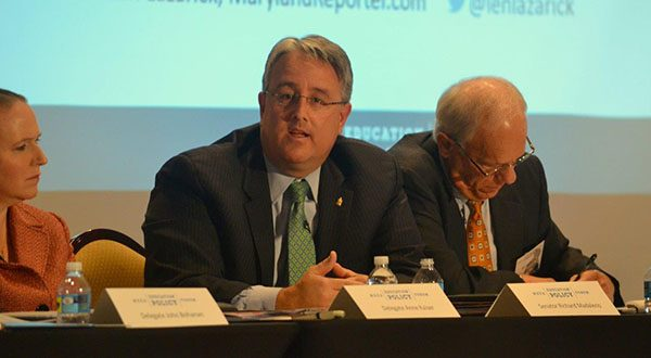 "Sen. Richard S. Madaleno Jr., D-Montgomery and the incoming vice chair of the Senate Budget and Taxation Committee, said Gov.-elect Larry Hogan would find allies in the legislature if he focuses on ways of diversifying the state economy in the wake of federal budget cuts. But ""if he wants to just hammer education as a way to cut the budget and cut taxes, he will find very few friends in the legislature,"" Madaleno told a policy forum sponsored by the Maryland State Education Association Monday. (The Daily Record/Bryan P. Sears)"