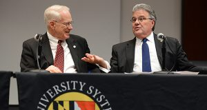 Outgoing USM Chancellor William (Brit) Kirwan, left and Robert L. Caret, the man who will replace him, appear together at a news conference Friday. (The Daily Record/Maximilian Franz)
