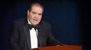 In this Nov. 6, 2014 file photo Supreme Court, Justice Antonin Scalia speaks in Washington.