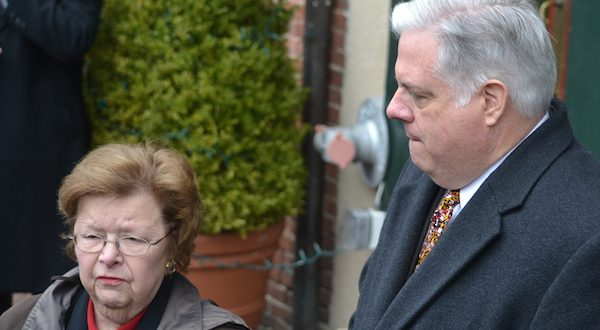 Sen. Barbara A. Mikulski and Gov.-elect Larry Hogan talk to reporters following their meeting in Annapolis. (The Daily Record/Bryan P. Sears)