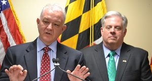 Budget Secretary David Brinkley, left, Gov. Larry Hogan in 2015.