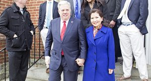 Then-Gov.-elect Larry Hogan Jr. and his wife, Yumi Hogan, leave St. Mary's Church in Annapolis after a morning prayer service on Wednesday, January 21, 2015, the day of his inauguration. (Capital News Service photo by James Levin)