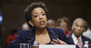 Attorney General nominee Loretta Lynch, shown testifying at her confirmation hearing before the Senate Judiciary Committee in January. (AP Photo)