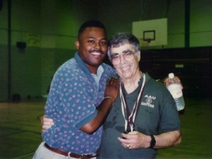 """Coach Ed Wilson, right, and former player Charles """"Tank"""" Duckett. (Photo courtesy of Scott MacMullan)"""