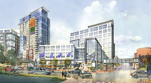 The proposed Towson Row project is shown from the view looking north on York Road. (RENDERING COURTESY OF CAVES VALLEY PARTNERS)