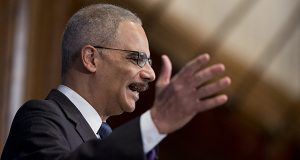 Former Attorney General Eric Holder at the National Press Club in 2015. (AP Photo/Manuel Balce Ceneta)