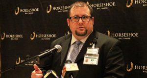 Anthony Chester, Horseshoe Casino Baltimore's Poker Room manager, talks to reporters about the World Series of Poker event scheduled to begin Thursday. (The Daily Record/Adam Bednar)