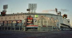 Tiger Stadium at the corner of Michigan and Trumbull in Detroit was demolished in 2008. Now a developer wants to crowdfund $4.3 million to help pay for a mixed-use development at the site. (By Baseball Bugs, via Wikimedia Commons)