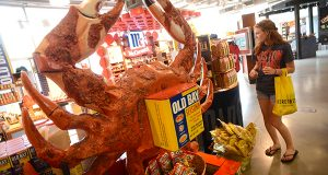 An Old Bay display at the McCormick World of Flavors store at the Baltimore Harborplace. (Maximilian Franz / The Daily Record)