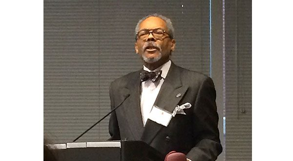 Former Maryland Court of Appeals Chief Judge Robert M. Bell, the first African American to serve in that position,  spoke to the crowd of attorneys and law students at the reception, stressing the role of lawyers in ensuring equal justice and equal opportunity for all citizens. (The Daily Record/Lauren Kirkwood)