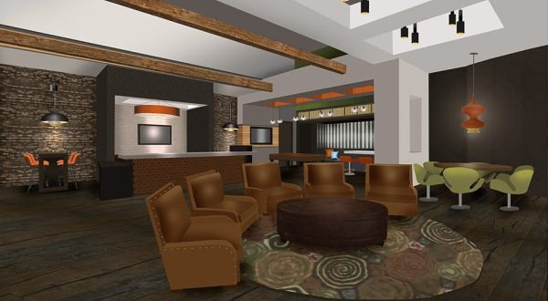 Interior renderings of the Icon Residences at the Rotunda, part of a $100 million overhaul of the former shopping mall. (Courtesy of Hartman Design Group)