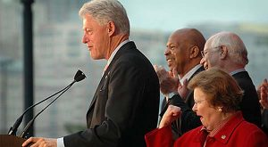 In this photo from March of 2007, Sen. Barbara Mikulski, right, reacts as former President Bill Clinton speaks.