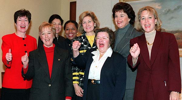 n this Jan. 9, 1997, file photo, women senators gesture during a meeting on Capitol Hill, where they discussed opportunities for bipartisan cooperation in the 105th Congress. From left are: Sen. Susan Collins, R-Maine; Sen. Patty Murray, D-Wash.; Sen. Olympia Snowe, R-Maine; Sen. Carol Moseley-Braun, D-Ill.; Sen. Kay Bailey Hutchison, R-Texas; Sen. Barbara Mikulski, D-Md.; Sen. Dianne Feinstein, D-Calif.; and Sen. Mary Landrieu, D-La. (AP Photo/Joe Marquette, File)