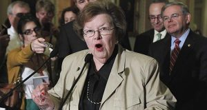 FILE - In this June 29, 2011, file photo, Sen. Barbara Mikulski, D-Md., speaks to reporters on Capitol Hill in Washington. (AP Photo/Manuel Balce Ceneta, File)