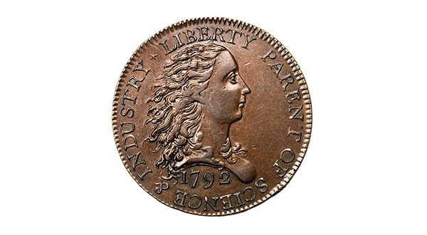 Auction host Stack's Bowers Galleries says the 1792 Birch cent, the first American one-cent coin, was sold to a rare coin dealer on Thursday night at the Convention Center.(stacksbowers.com)