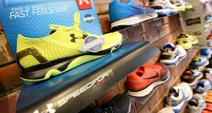 Under Armour Speedform Apollo running shoes at the Charm City Run in Locust Point. (The Daily Record/Maximilian Franz)
