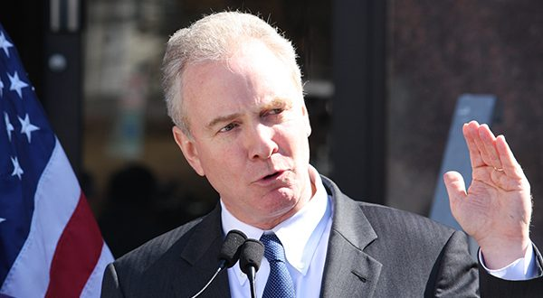 In this March 2015 file photo, Rep. Chris Van Hollen, D-Md., talks at a news conference in Rockville, Md., after announcing endorsements for his candidacy for U.S. Senate.  (AP Photo/Brian Witte, File)