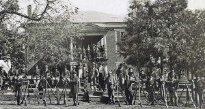 This April 1865 image provided by the Library of Congress shows Federal troops in front of the Appomattox Court House near the time of Confederate Gen. Robert E. Lee's surrender to Union Lt. Gen. Ulysses S. Grant, in Appomattox, Va.  (AP Photo/Library of Congress, Timothy H. O'Sullivan)