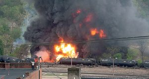 This image, made available by the City of Lynchburg, shows several CSX tanker cars carrying crude oil in flames after derailing in downtown Lynchburg, Va., on April 30, 2014. (ASSOCIATED PRESS/CITY OF LYNCHBURG, LUANN HUNT)