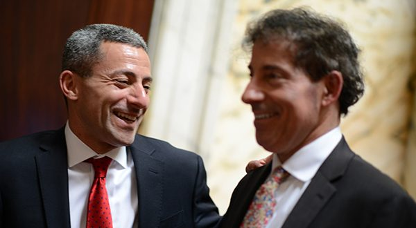 "Sen. Robert A. ""Bobby"" Zirkin and Sen. Jamin B. ""Jamie"" Raskin speak on the Senate floor. (The Daily Record/Maximilian Franz)"