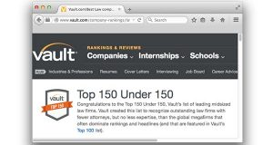 """The """"Top 150 Under 150"""" is Vault's list of leading midsized law firms. (Screenshot)"""