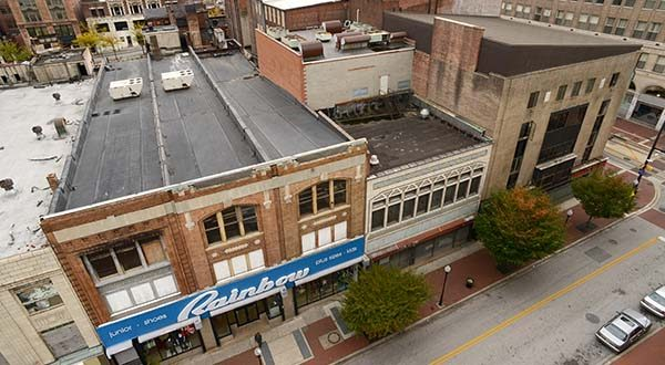 The Superblock, as seen from the Catholic Relief building on Lexington Street. (Maximilian Franz/The Daily Record)
