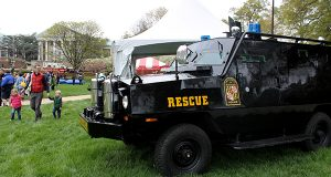 This armored truck is used by police at the University of Maryland College Park. Police departments at four Maryland public universities have received more than $190,000 worth of surplus military equipment–ranging from rifles to an armored truck–from the federal government. (Capital News Service / Elena Baurkot)