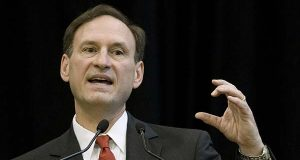 In this April 9, 2008 file photo, Supreme Court Justice Samuel Alito Jr. speaks at John Carroll University in University Heights, Ohio.  (AP Photo/Jason Miller, File)