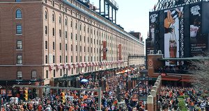 Baltimore Oriole Fans from all over crowded Oriole Park at Camden Yards for the 60th annual Opening day in 2014. (The Daily Record/Maximilian Franz)